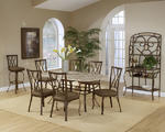 Brookside Dining Set with Diamond Back Chairs (Brown Powder Finish)