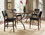Cameron Counter Height Rectangle Dining Set with Parson Stools (Chestnut Brown Finish)