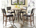 Cameron  Counter Height Round Dining Set with Parson Stools (Chestnut Brown Finish)