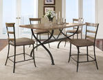 Charleston Counter Height Rectangle Wood Dining Set with ladder Back Stools (Desert Tan Finish)