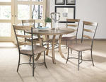 Charleston Round Metal Ring Dining Set with Ladder Back Chairs (Desert Tan Finish)