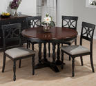 Chesterfield Tavern Round to Oval 5 Piece Dining Set (Antique Black & Cherry) with Scroll Back Chairs