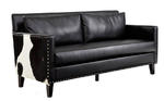Dallas Loveseat (Black Leather & Real Cowhide)