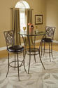 Marsala Bar Height Bistro Dining Three Piece Set (Gray & Rust Highlights)
