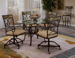 Pompei Dining Set with Caster Chairs (Black Gold & Slate Mosaic Finish)