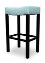 Tudor Counter Stool (Blue Bonded Leather & Chrome Nail)