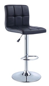 Adjustable Height Bar Stool (Black Quilted Faux Leather & Chrome) - [212-851]