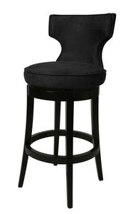 Augusta Bar Stool (Feher Black & Micro Fiber Black Finish) - [AE-225-30-FB-964]