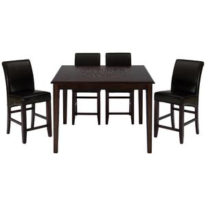Baroque Brown Counter Height 5 Piece Dining Set with Bonded Leather Counter Stools - [697-50+4x888-BS485KD]