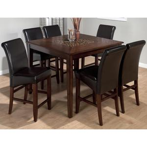 Baroque Brown Counter Height 7 Piece Dining Set with Bonded Leather Counter Stools - [697-50+6x888-BS485KD]