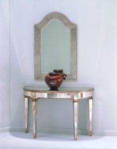 Borghese Mirrored Console Table (Antique Mirror & Silver Leaf Finish) - [8311-400]