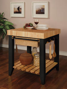 Color Story Butcher Block Kitchen Island (Black) - [502-416]
