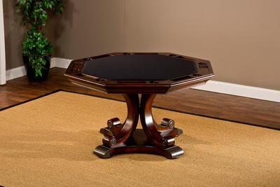 Harding Game Table (Rich Cherry & Brown Leather Finish) - [6234GTB]