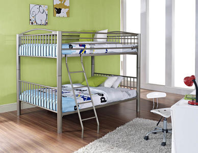 Heavy Metal Full Over Full Bunk Bed (Pewter) - [941-137]