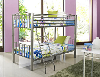 Heavy Metal Twin Over Twin Bunk Bed (Pewter) - [941-138]