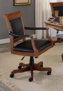 Kingston Square Leather Back Game Chair (Light Cherry Finish) - [6004-801]