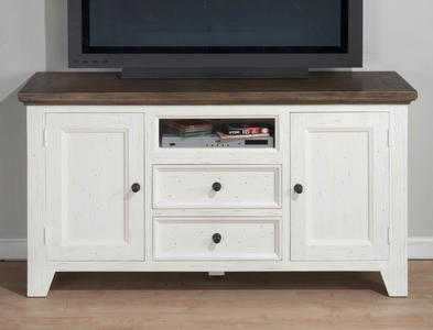 Nantucket Aged White Casual Cottage Media Unit - [048-9]