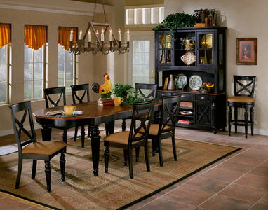 Northern Heights Dining Set (Black & Cherry Finish) - [4439DTBC7]