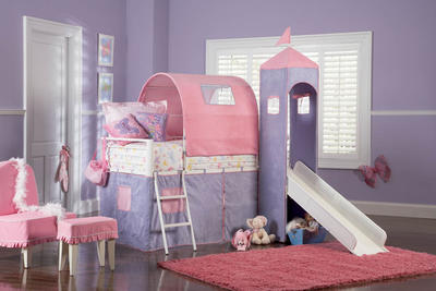 Princess Castle Twin Tent Bunk Bed with Slide (White, Purple & Pink) - [374-069]