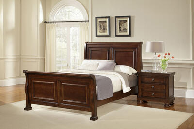 Reflections Sleigh Bed (Dark Cherry Finish)