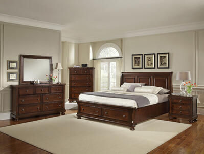 Reflections Sleigh Storage Bedroom Set (Dark Cherry Finish)