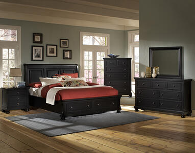 Reflections Sleigh Storage Bedroom Set (Ebony Finish)
