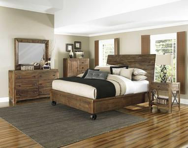 River Ridge Island Bed with Casters (Distressed Natural)