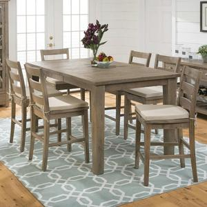 Slater Mill Pine Reclaimed Pine Counter Height 7 Piece Dining Set - [941-42+6x941-BS538KD+CUSHION-941]
