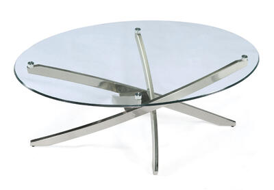 Zila Oval Cocktail Table (Brushed Nickel)