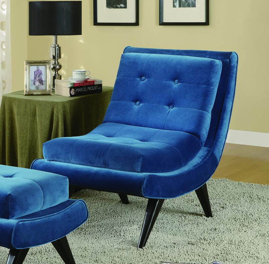 5th Avenue Armless Swayback Lounge Chair Cerulean Blue