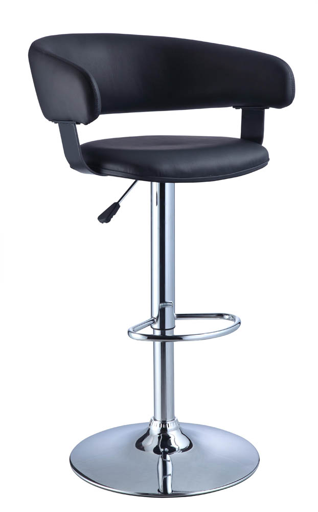 Adjustable Height Bar Stool Black Faux Leather Barrel