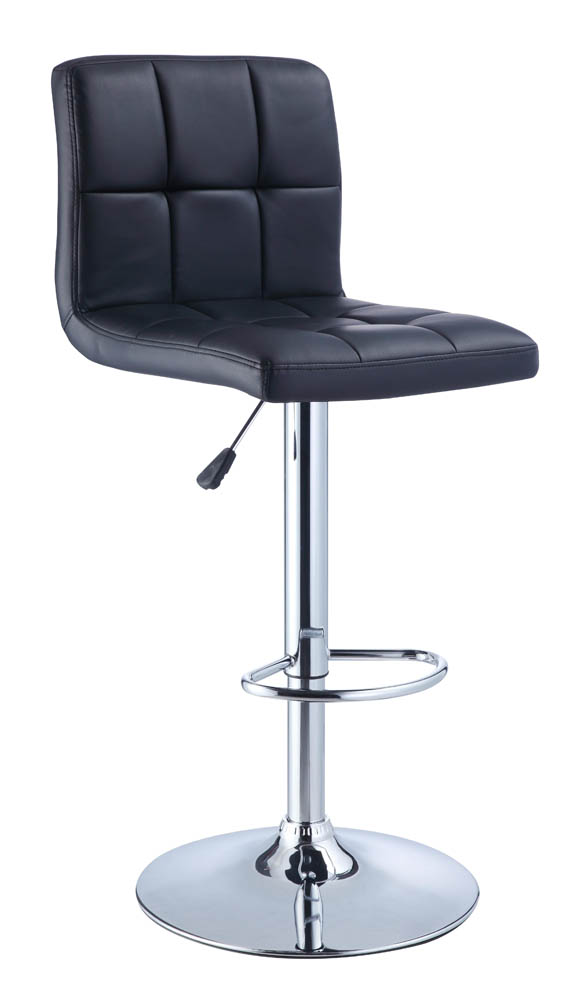 Adjustable Height Bar Stool Black Quilted Faux Leather