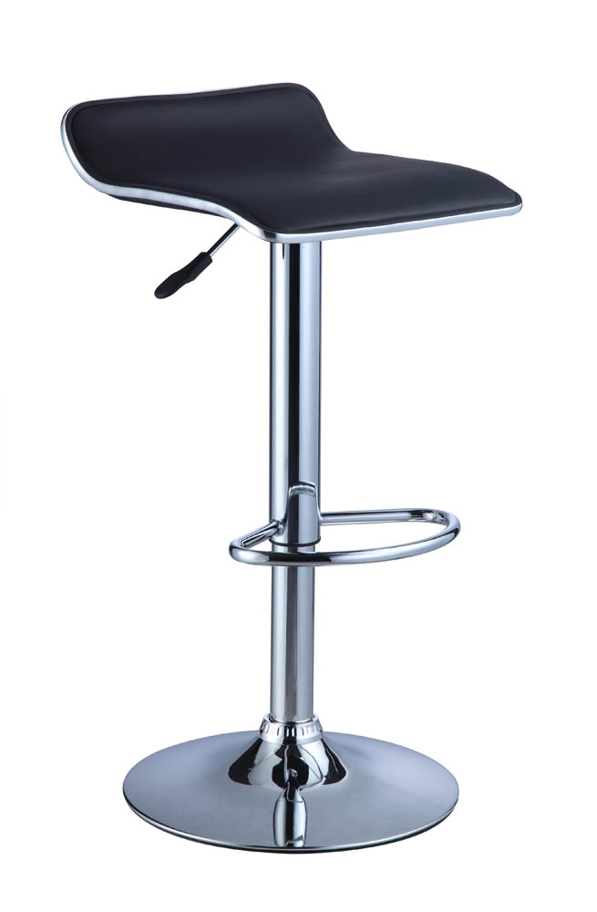 Adjustable Height Bar Stool Set of 2 Black Faux Leather  : adjustable height bar stool set of 2 black faux leather chrome 1 from www.decorsouth.com size 655 x 1000 jpeg 56kB