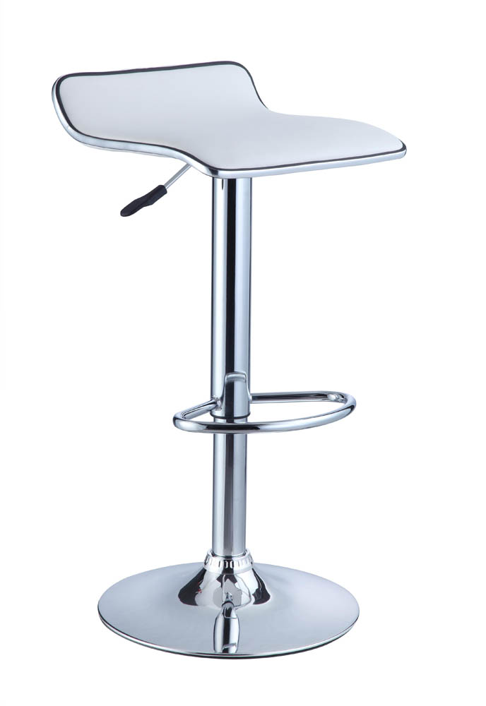 Adjustable Height Bar Stool Set Of 2 White Faux Leather