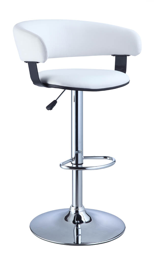 Adjustable Height Bar Stool (White Faux Leather Barrel & Chrome) - [211-915] : Decor South
