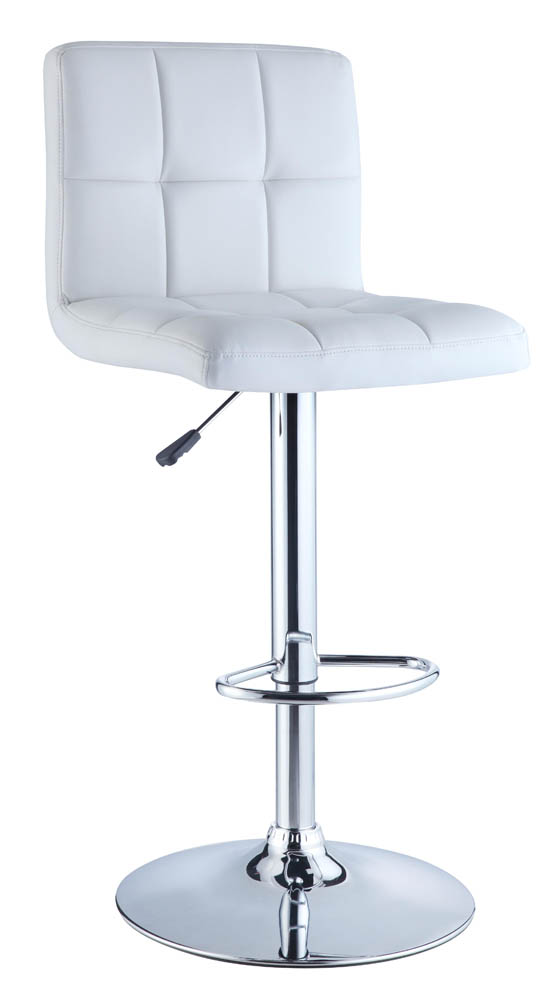 Adjustable Height Bar Stool White Quilted Faux Leather  : adjustable height bar stool white quilted faux leather chrome 1 from www.decorsouth.com size 560 x 1000 jpeg 49kB