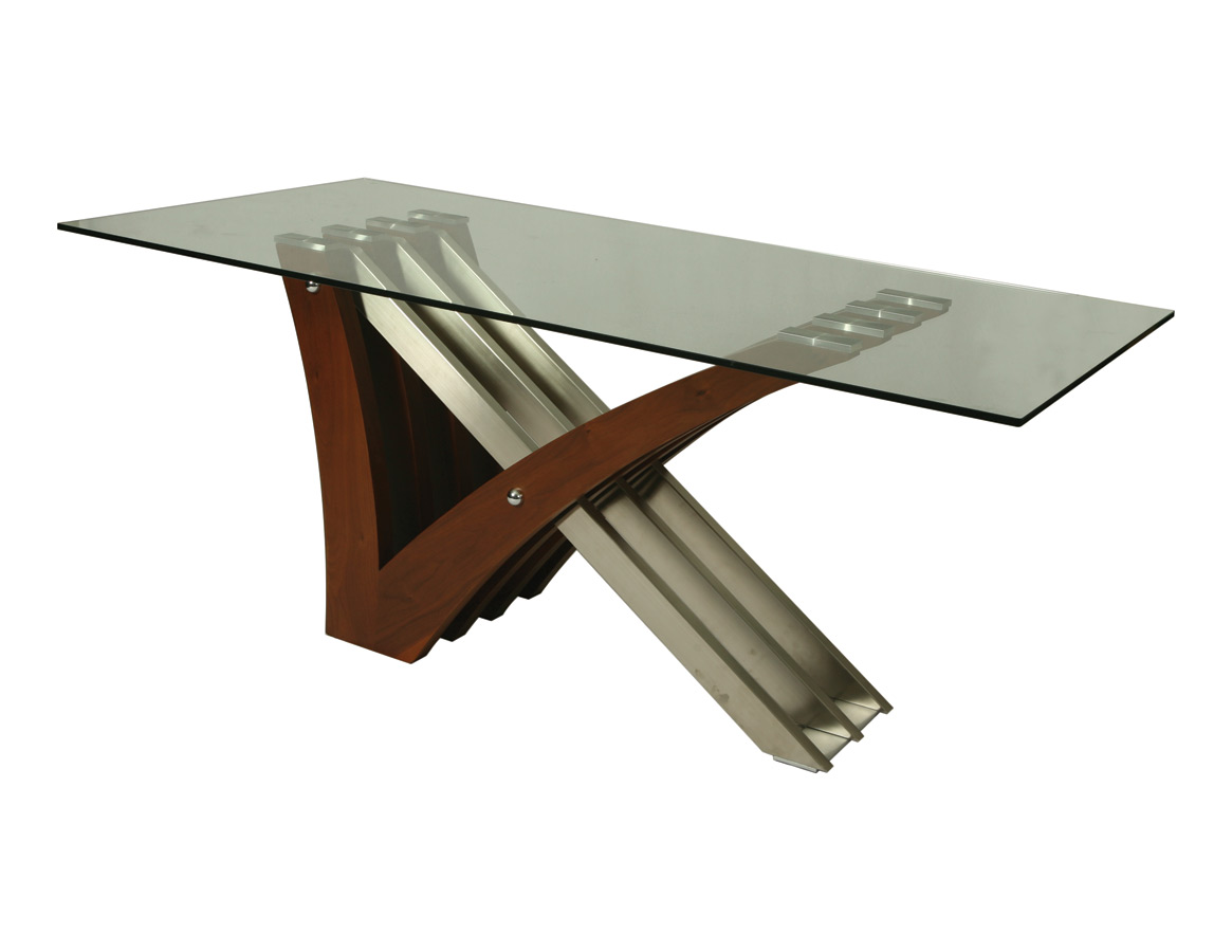 Akasha Dining Table Stainless Steel Walnut Veneer Finish Decor