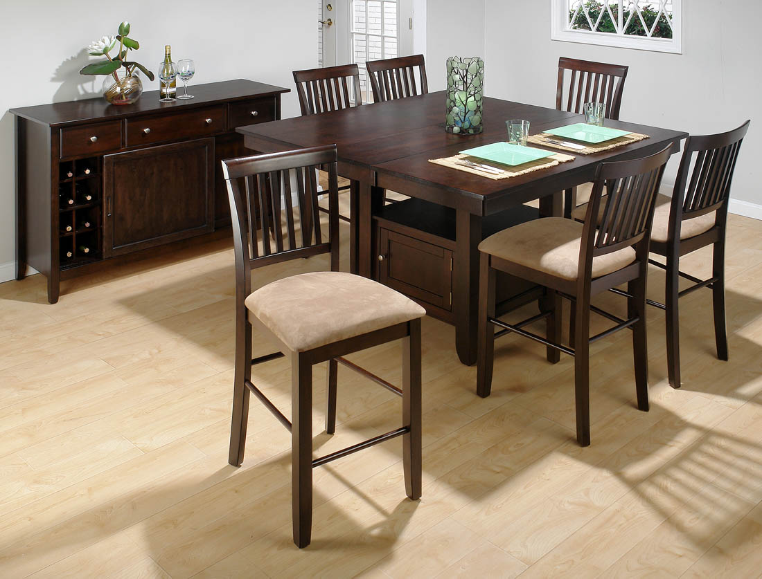 Bakeryu0027s Cherry Counter Height 7 Piece Dining Set With Slat Back Counter  Height Stools   [373 55B+373 55T+6x373 BS711KD]