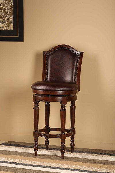 Barcelona Swivel Counter Stool Brown Cherry Finish