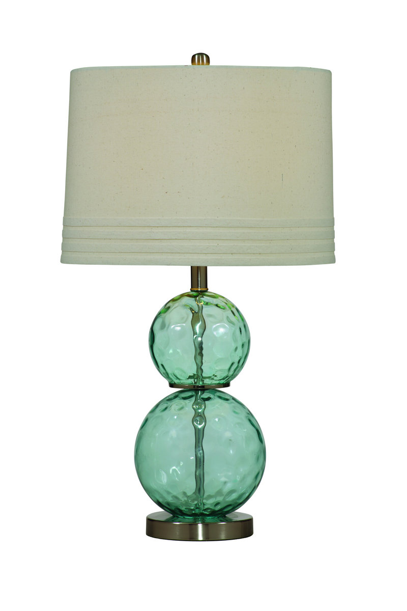 Barika table lamp blue dimple glass finish l2522tec for Table lamp next to tv