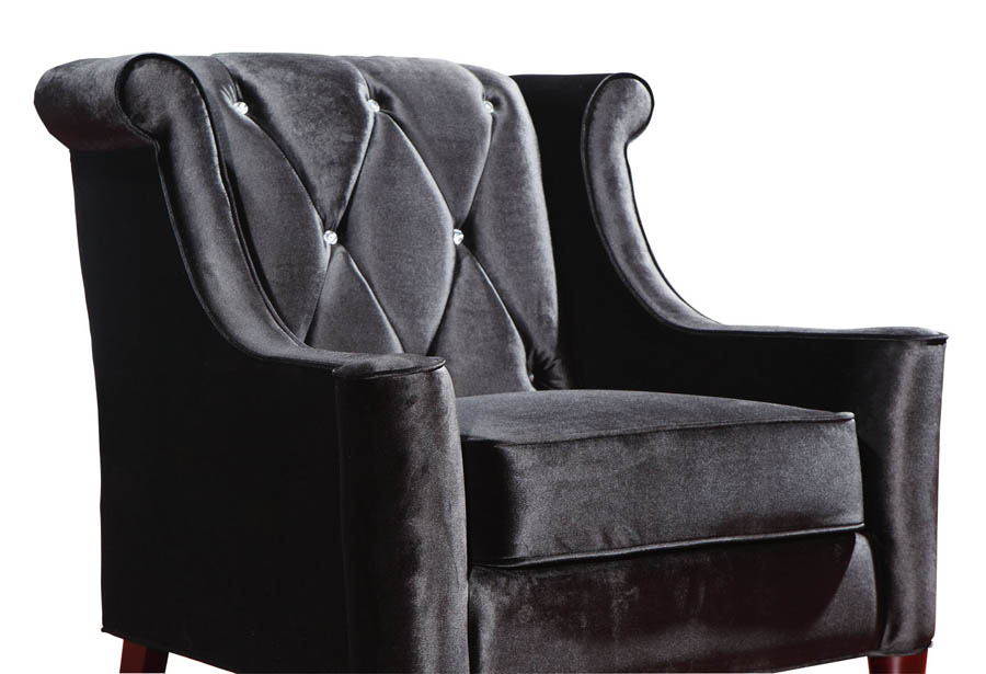 Barrister Chair Black Velvet Amp Crystal Lc8441black