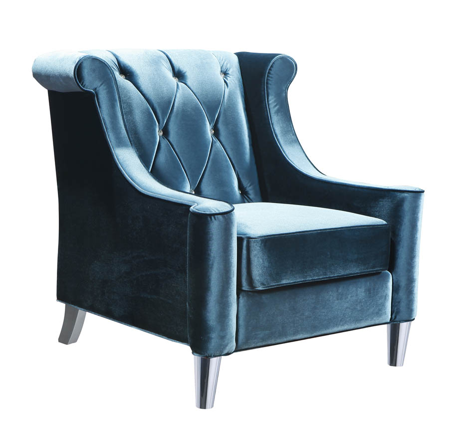 Barrister Chair (Blue Velvet & Crystal) - [LC8441BLUE