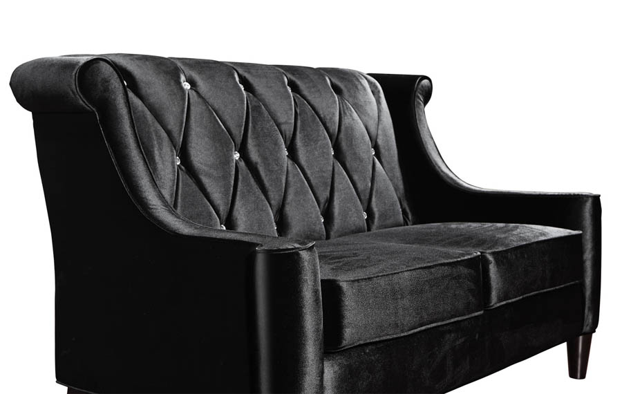 Barrister Loveseat Black Velvet Crystal LC8442BLACK