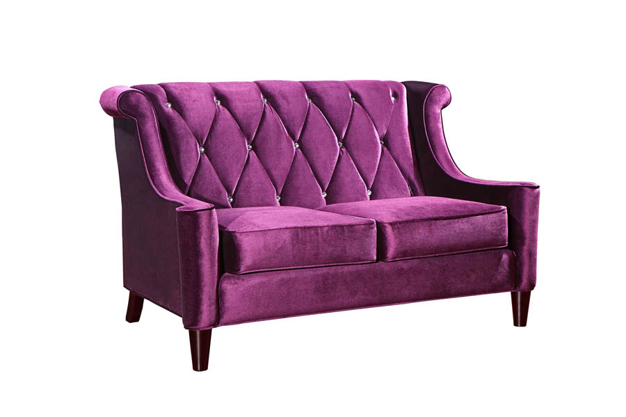 Barrister Loveseat Purple Velvet Crystal Lc8442purple Decor South