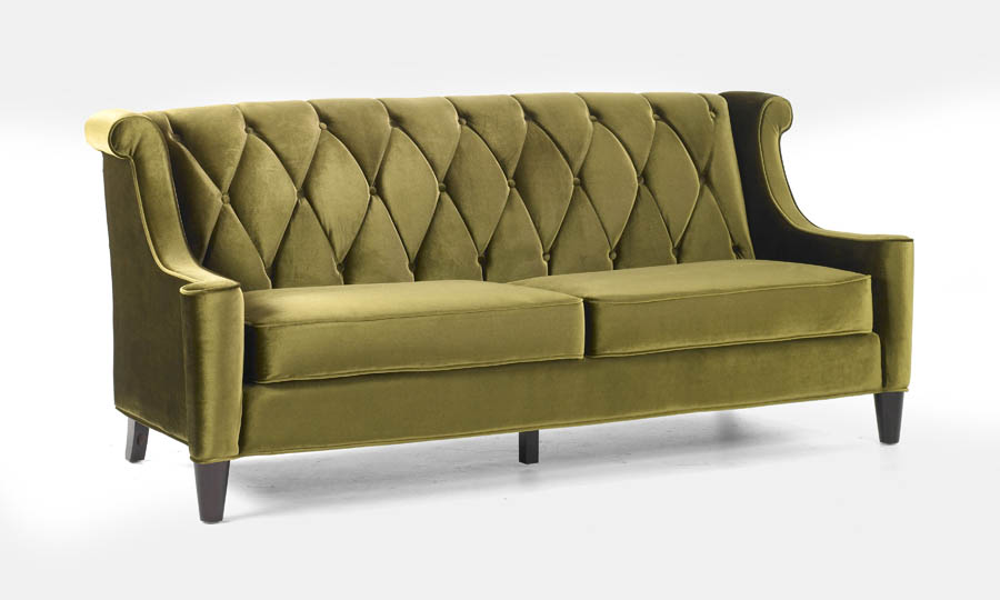 Barrister Retro Sofa In Mid Century Modern Green Velvet