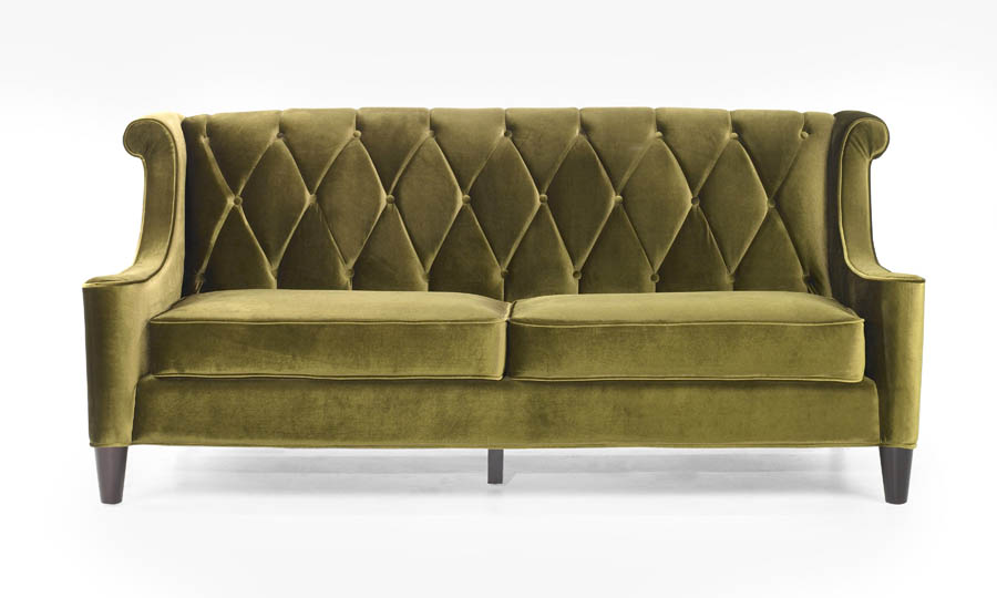 barrister retro sofa in mid century modern green velvet lc8443green decor south. Black Bedroom Furniture Sets. Home Design Ideas