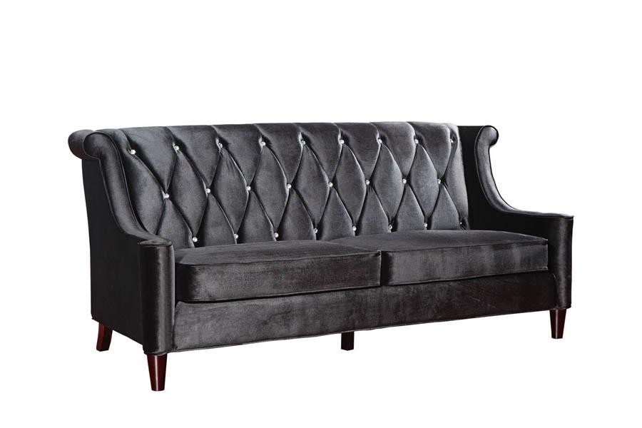 Barrister Sofa Black Velvet Crystal LC8443BLACK Decor South