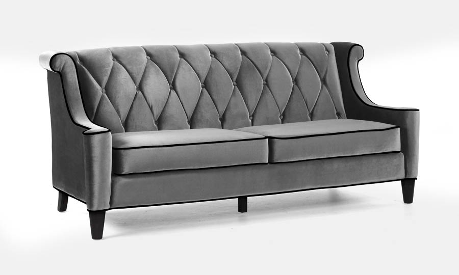 Barrister sofa gray velvet with black piping for Black and grey couch