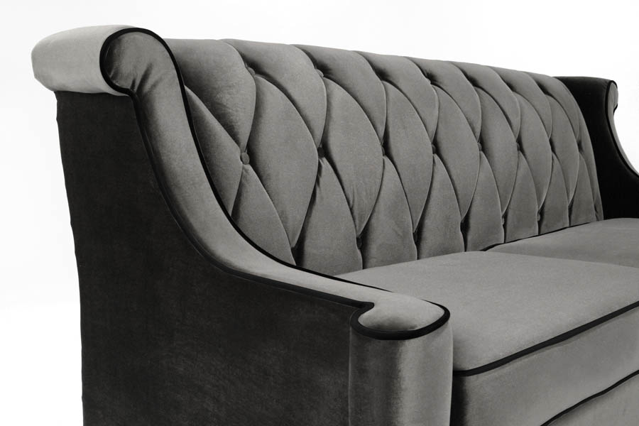Barrister Sofa Gray Velvet With Black Piping Lc8443gray