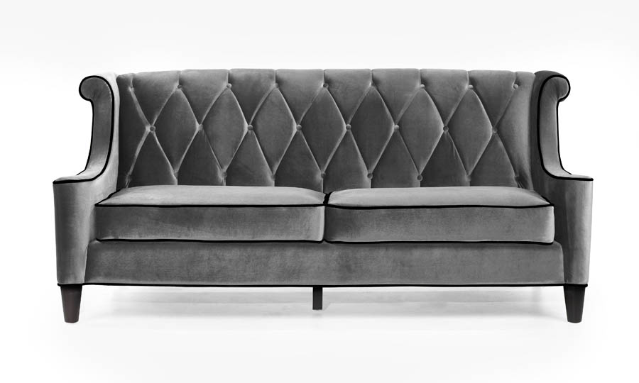 Barrister Sofa (Gray Velvet With Black Piping) - [LC8443GRAY ...